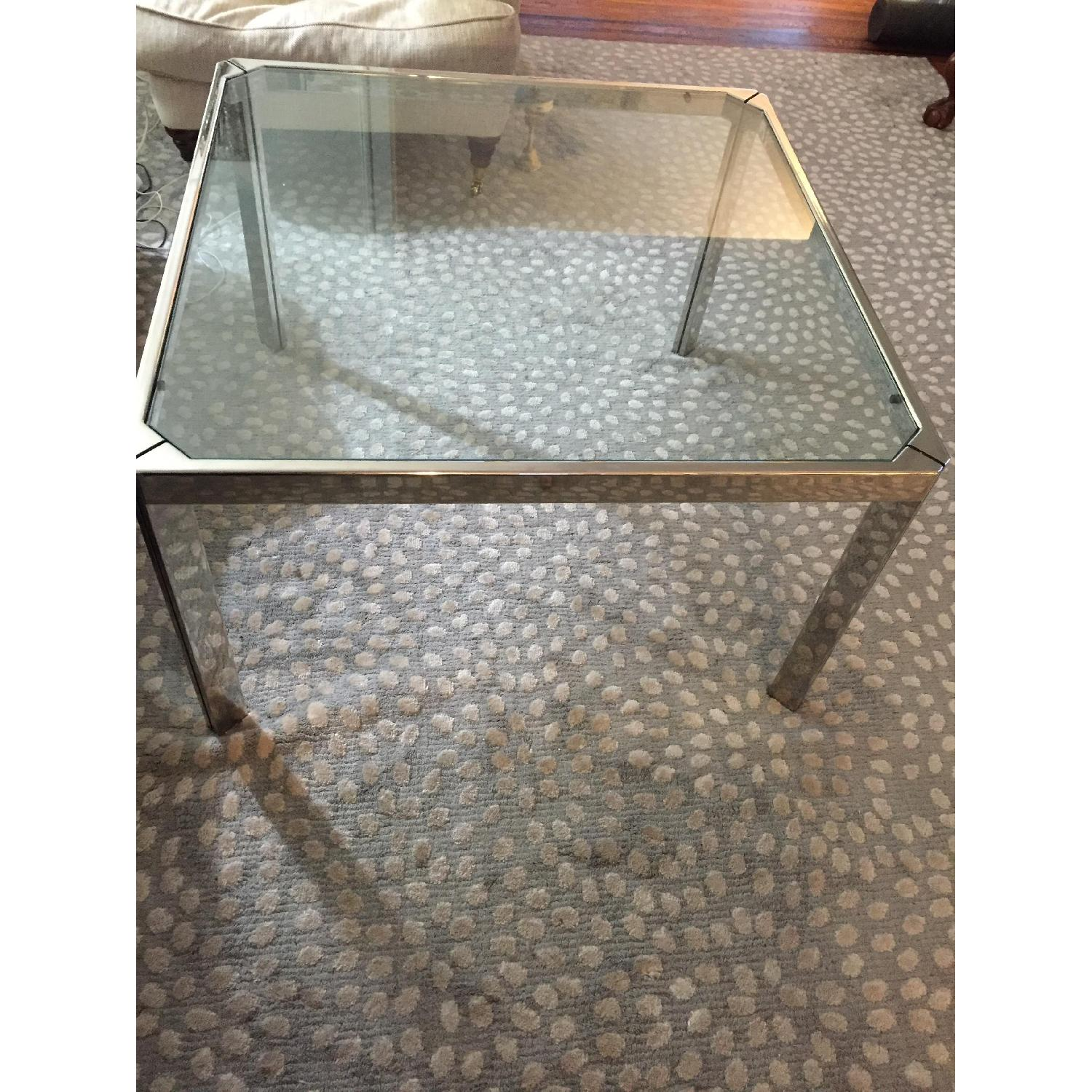 Chromed Steel & Glass Coffee Table - image-1