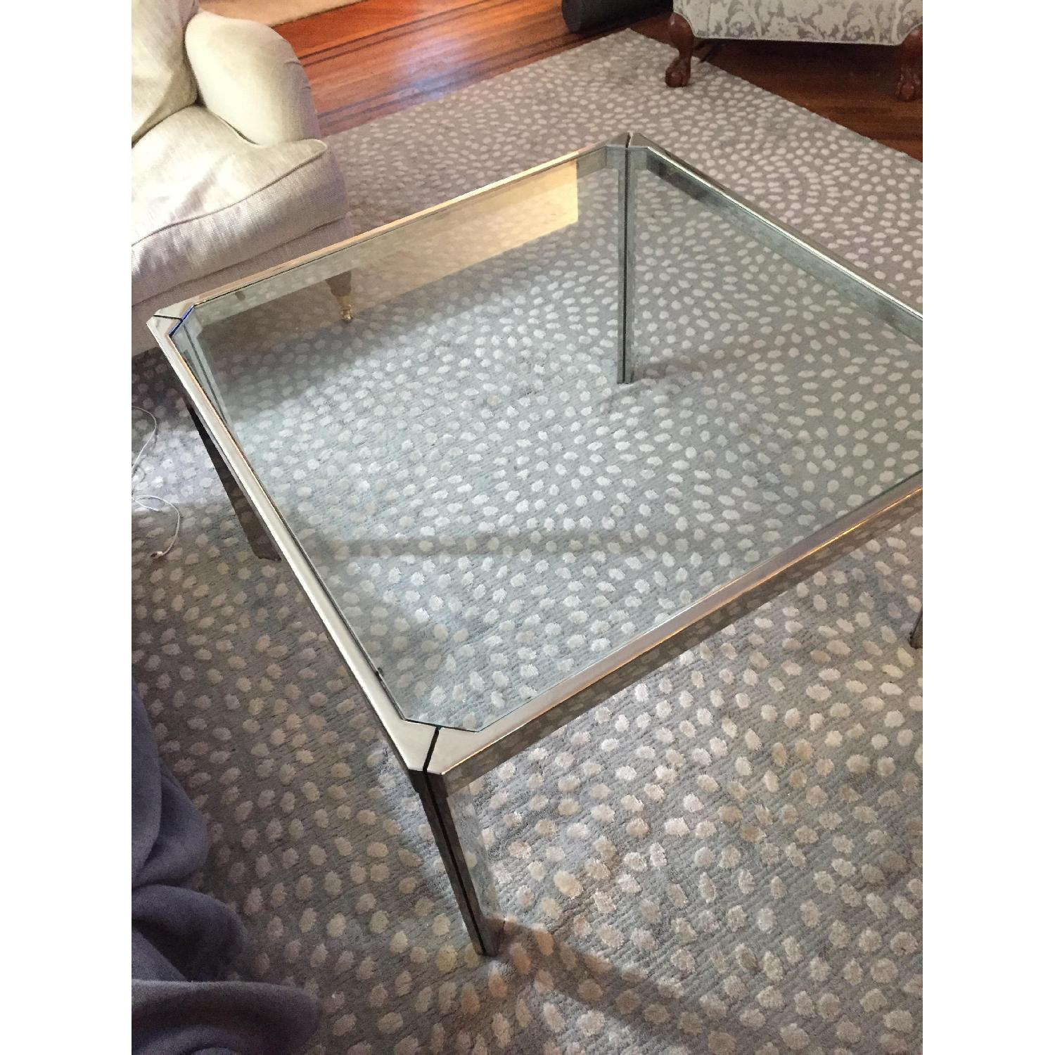 Chromed Steel & Glass Coffee Table - image-2