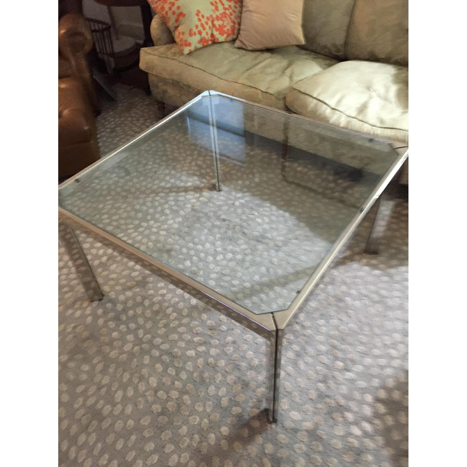 Chromed Steel & Glass Coffee Table - image-4