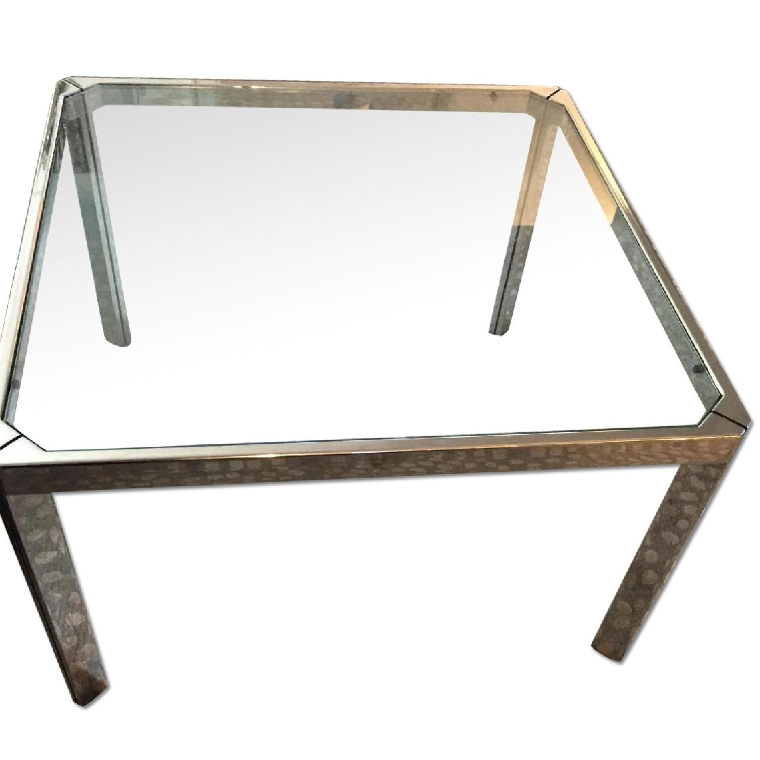 Chromed Steel & Glass Coffee Table - image-0