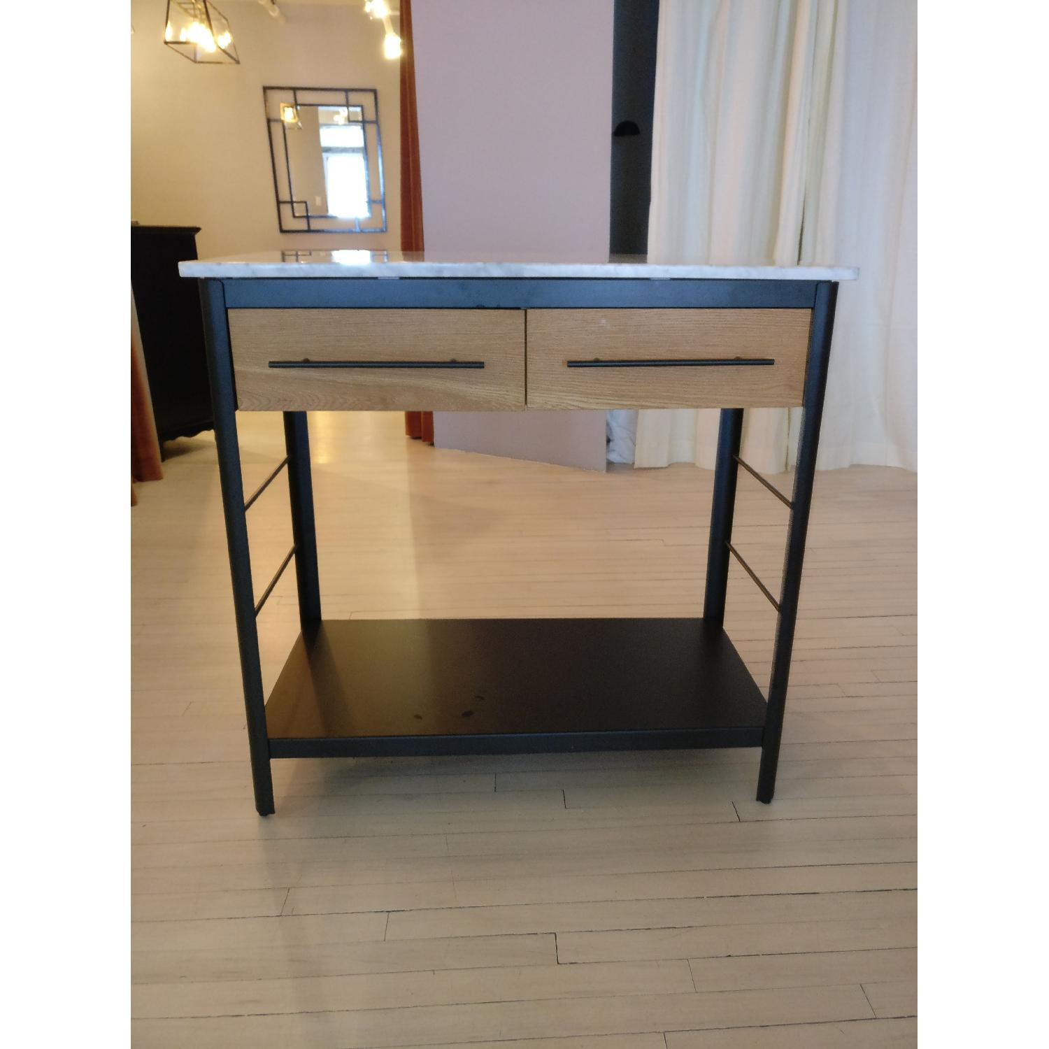 West Elm Marble Top Kitchen Island - image-1