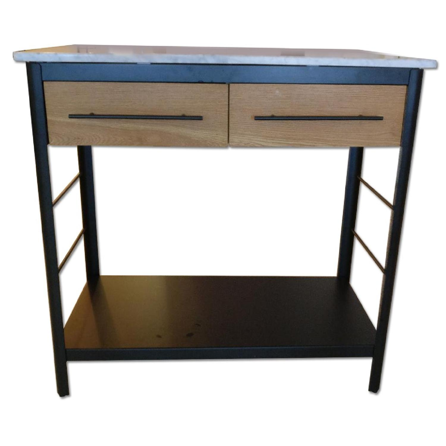 West Elm Marble Top Kitchen Island - image-0