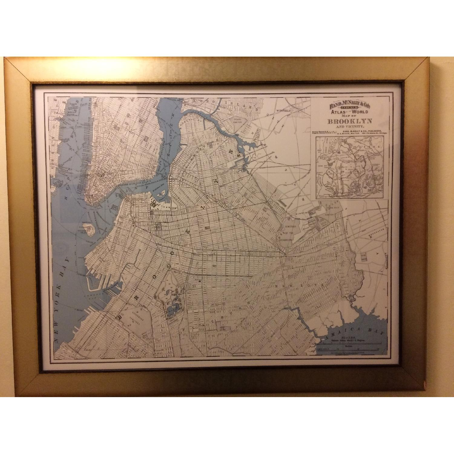 One Kings Lane Historic Brooklyn Map in Burnished Silver Frame - image-1