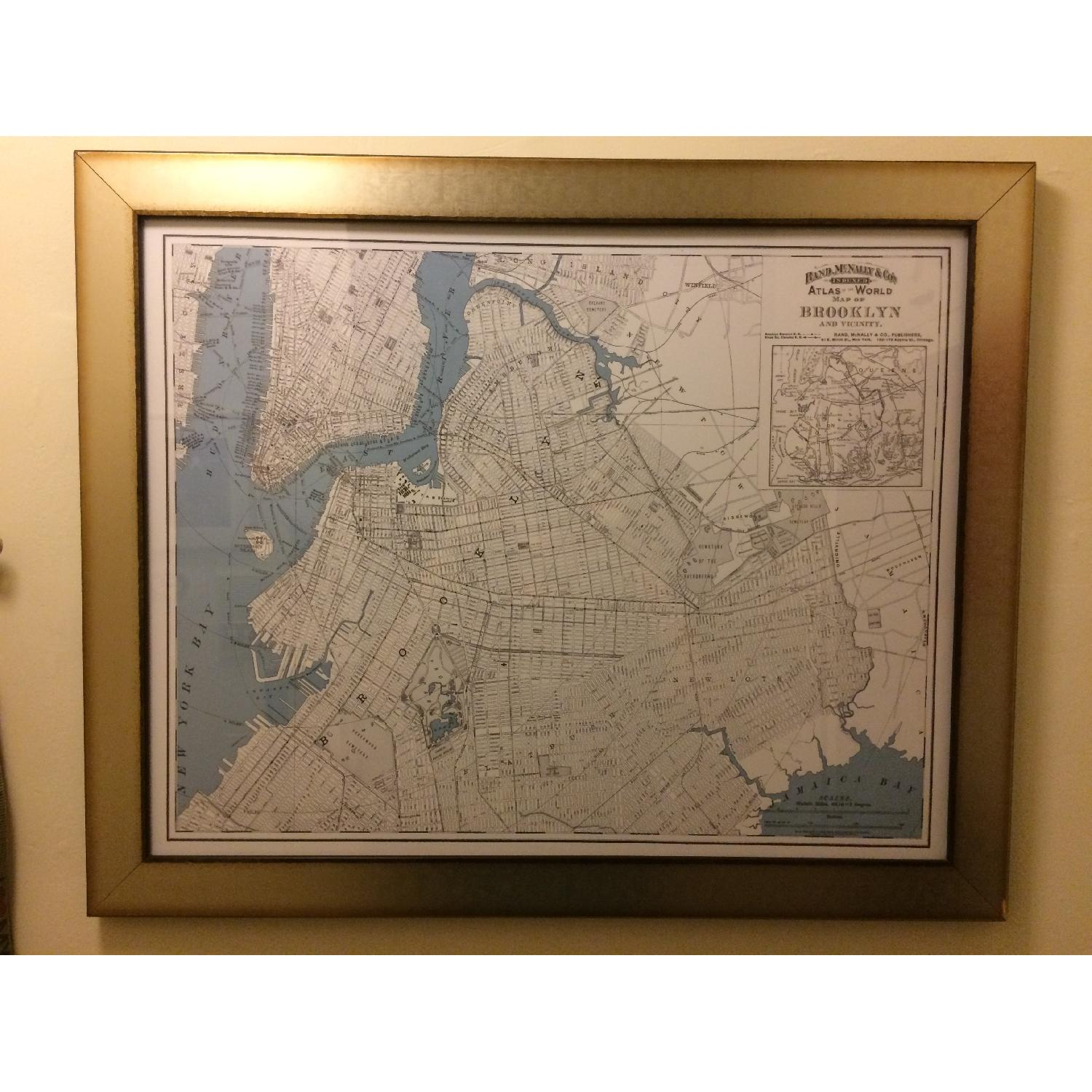 One Kings Lane Historic Brooklyn Map in Burnished Silver Frame - image-2
