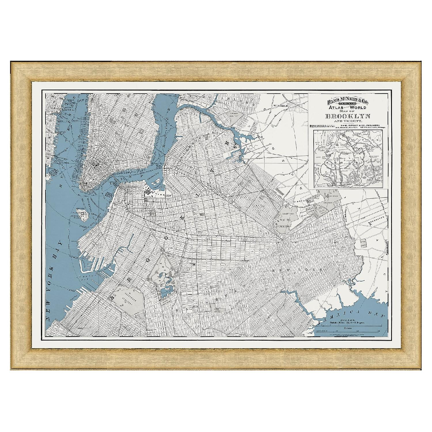 One Kings Lane Historic Brooklyn Map in Burnished Silver Frame - image-3