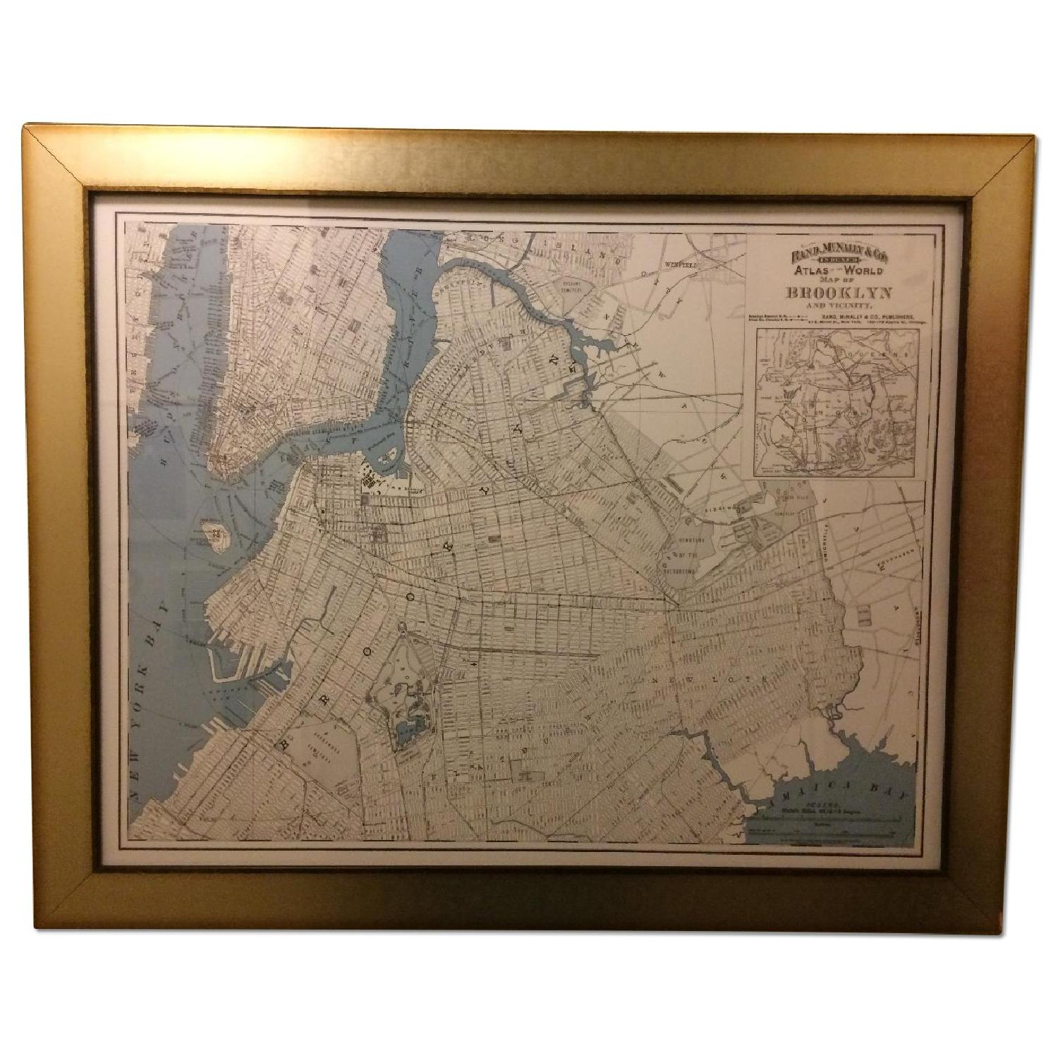 One Kings Lane Historic Brooklyn Map in Burnished Silver Frame - image-0