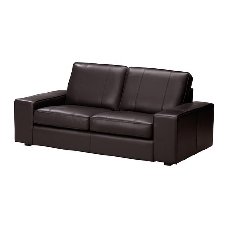 Ikea Kivik Leather Loveseat - image-2
