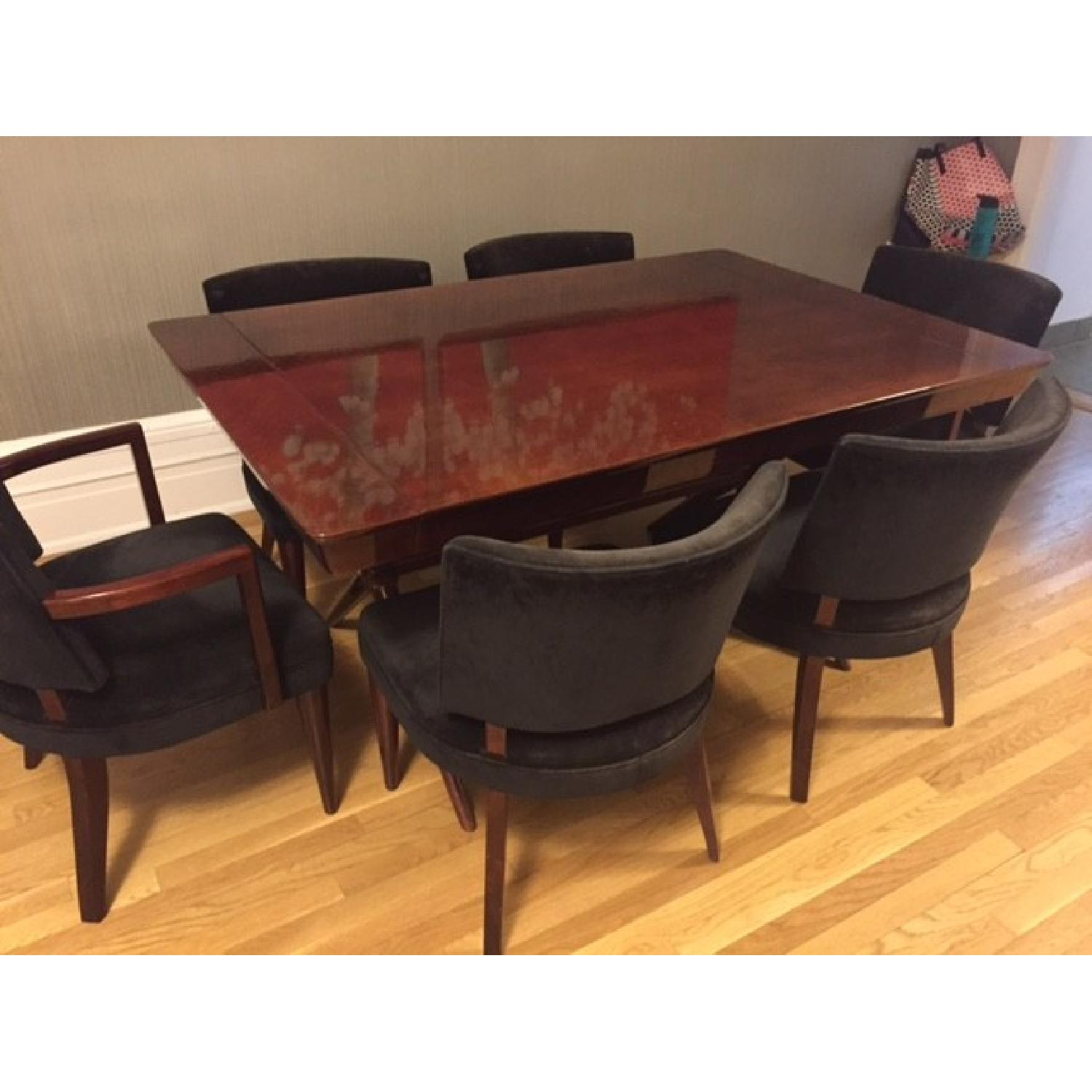 Depression Modern Art Deco Dining Room Table w/ 6 Chairs - image-1