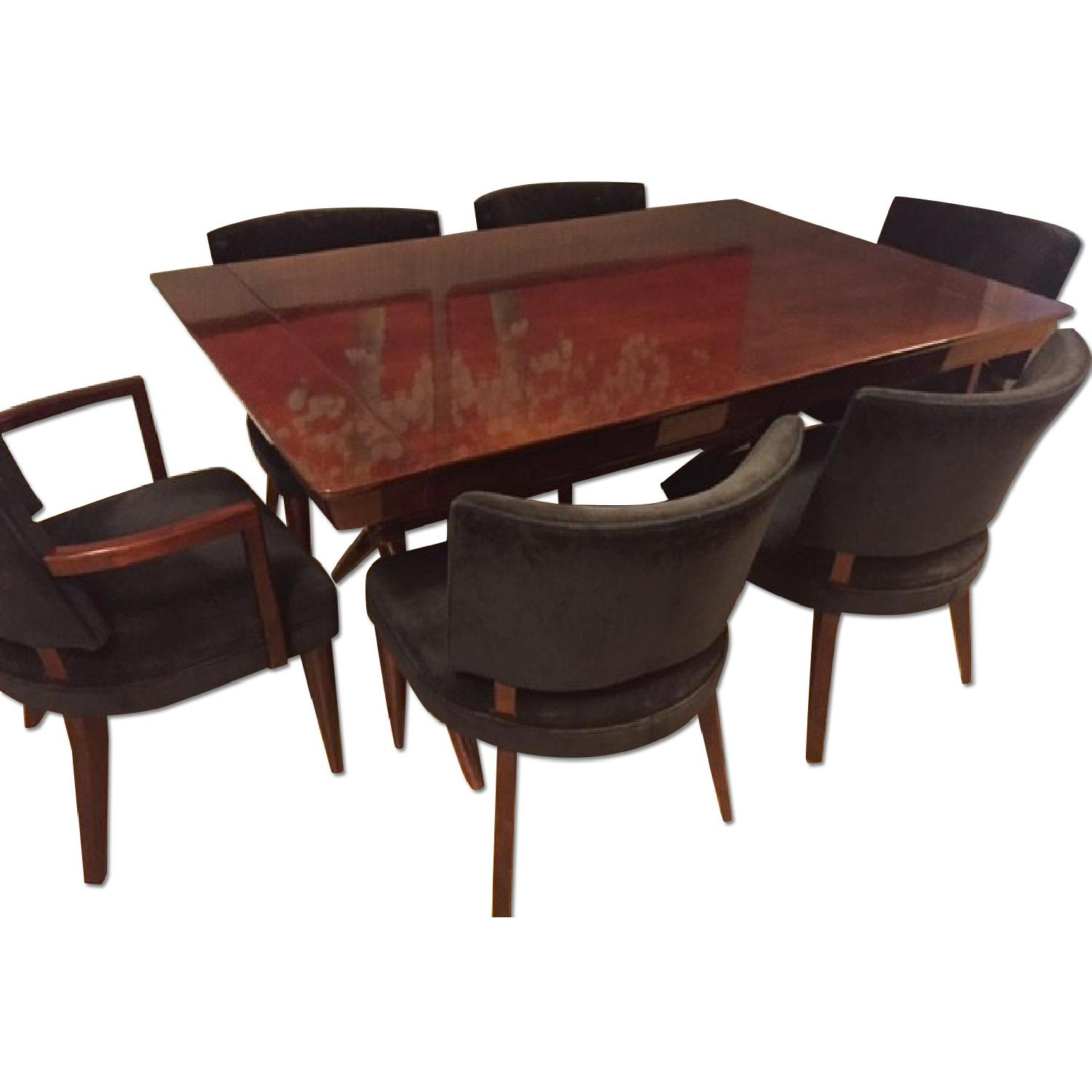 Depression Modern Art Deco Dining Room Table w/ 6 Chairs - image-0