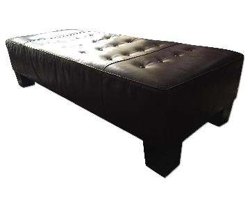 Crate & Barrel Chocolate Leather Tufted Ottoman