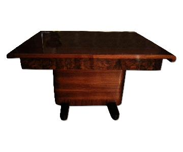 Antique Deco Lacquered Table w/ 6 Black Suede/Wood Chairs