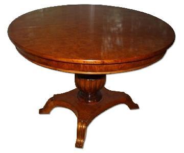 Greene Street Antiques Biedermeier Pedestal Round Dining Table w/ 2 Leaves