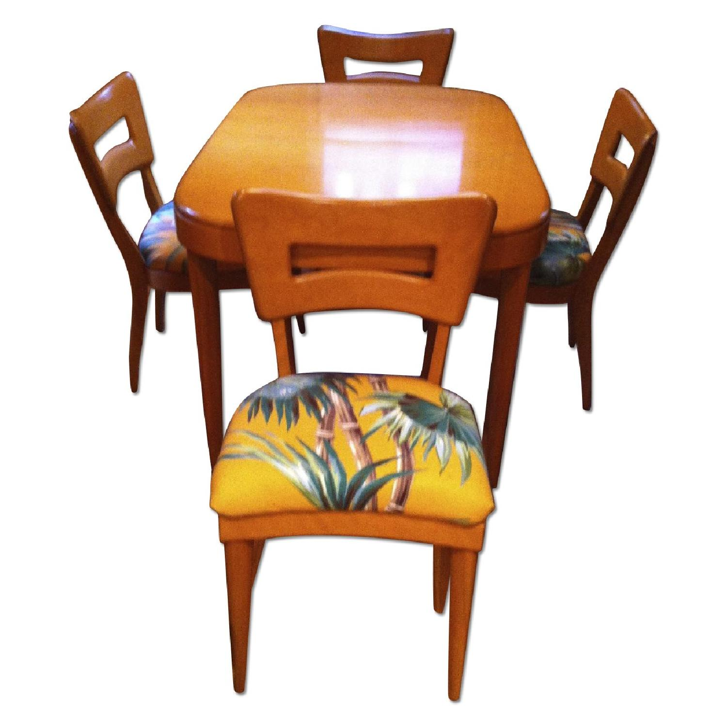 Heywood- Wakefield Dining Room Table with Leaf/ Table Pads and 4 Chairs