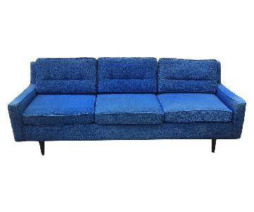 Mid Century Modern Blue Upholstered Sofa