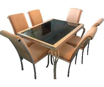 Metal & Glass Extendable Dining Table w/ 6 Chairs & Cover