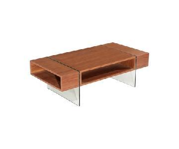 Hokku Walnut & Glass Mid-Century Modern Coffee Table