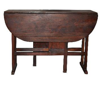 Vintage Wood Dining Table w/ Collapsible Leaves