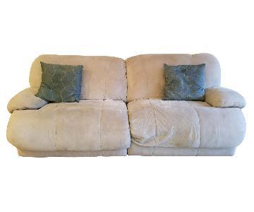 Raymour & Flanigan Microfiber 2 Seater Power Reclining Sofa