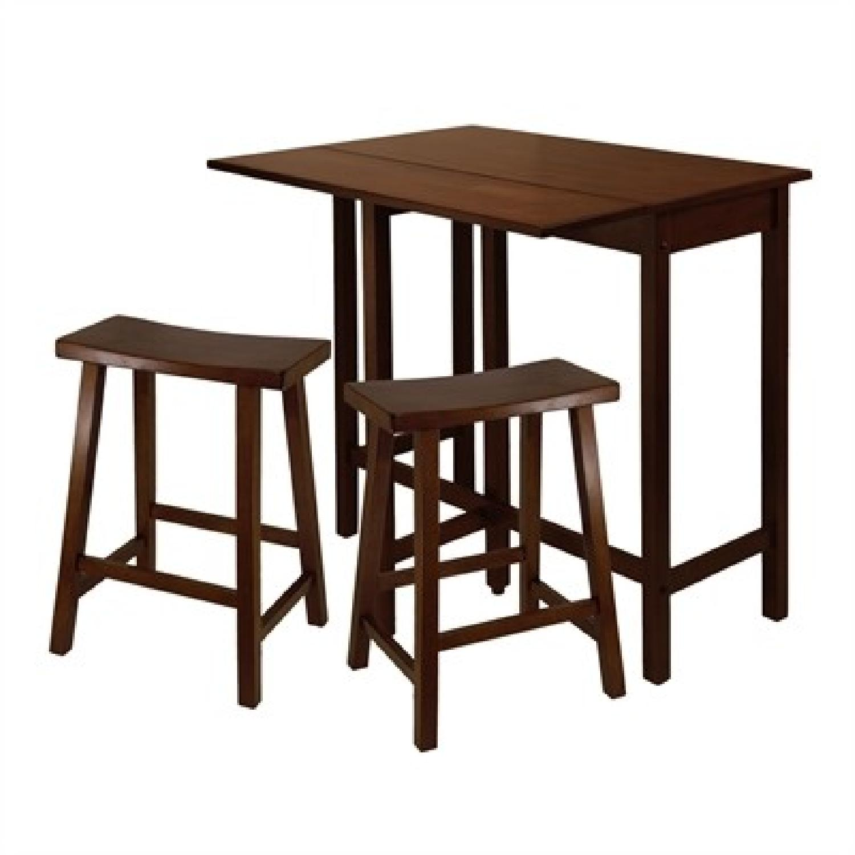 Winsome Wood Lynnwood Drop Leaf High Table w/ 2 Stools