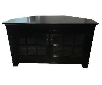 Crate & Barrel Corner TV Console w/ Glass Doors