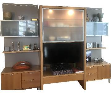 Italian Entertainment Cabinet w/ Bookshelf & Storage