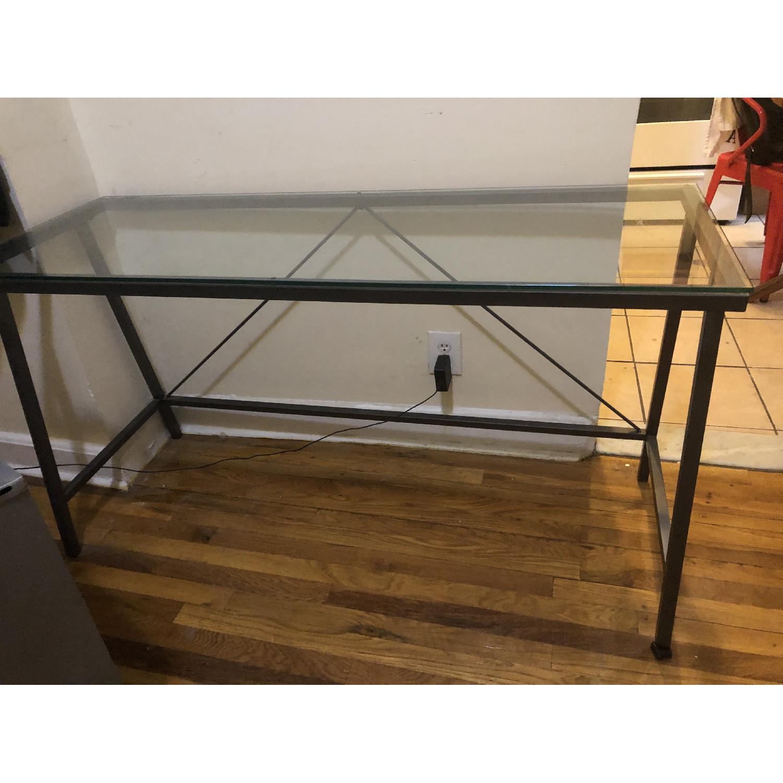 CB2 Modern Glass & Metal Office Desk-2