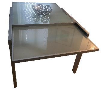 Italian Dining Table w/ Glass & Metal Trim