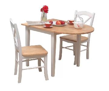 Charlton Home Castellon Drop Leaf Dining Table w/ 2 Chairs