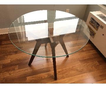 West Elm Jensen Round Glass Dining Table w/ 2 Dining Chairs
