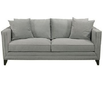 Macy's Velvet Pale Blue Sofa w/ Rivets