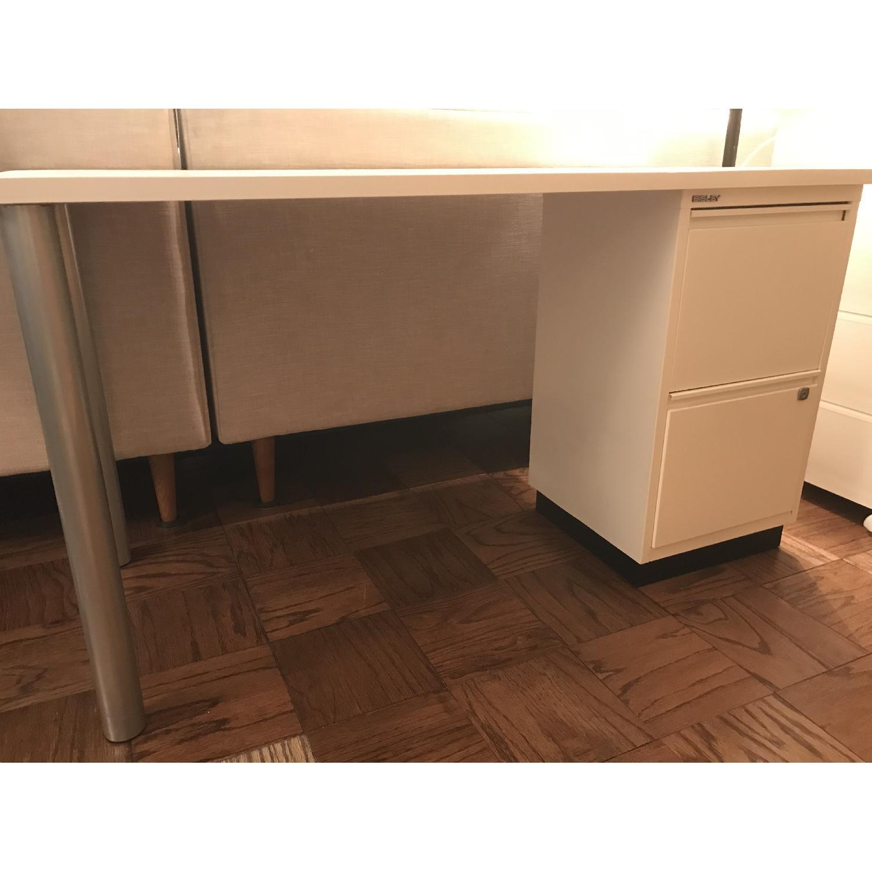 Elfa Desk w/ Cabinet & Shelves-0