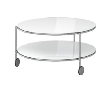 Ikea Strind White Glass Coffee Table