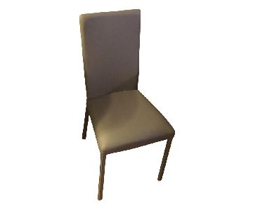 Macy's Grey Leather Dining Chairs