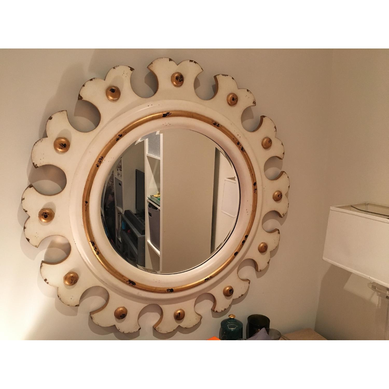 Distressed Scalloped Sun Mirror-0