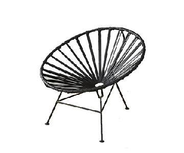 CB2 Sayulita Black Leather Lounge Chair