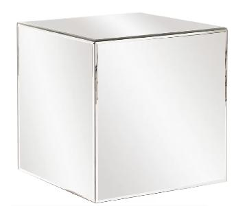 Charee Mirrored Cube End Table