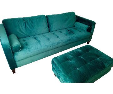 Emerald Velvet Sofa & Ottoman
