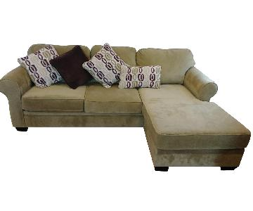 Green Terry Cloth Lounge 2-Piece Sectional Sofa