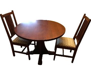 Stickley Round Pedestal Table w/ 2 Chairs