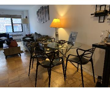 Round Glass Kitchen Table w/ 4 Chairs