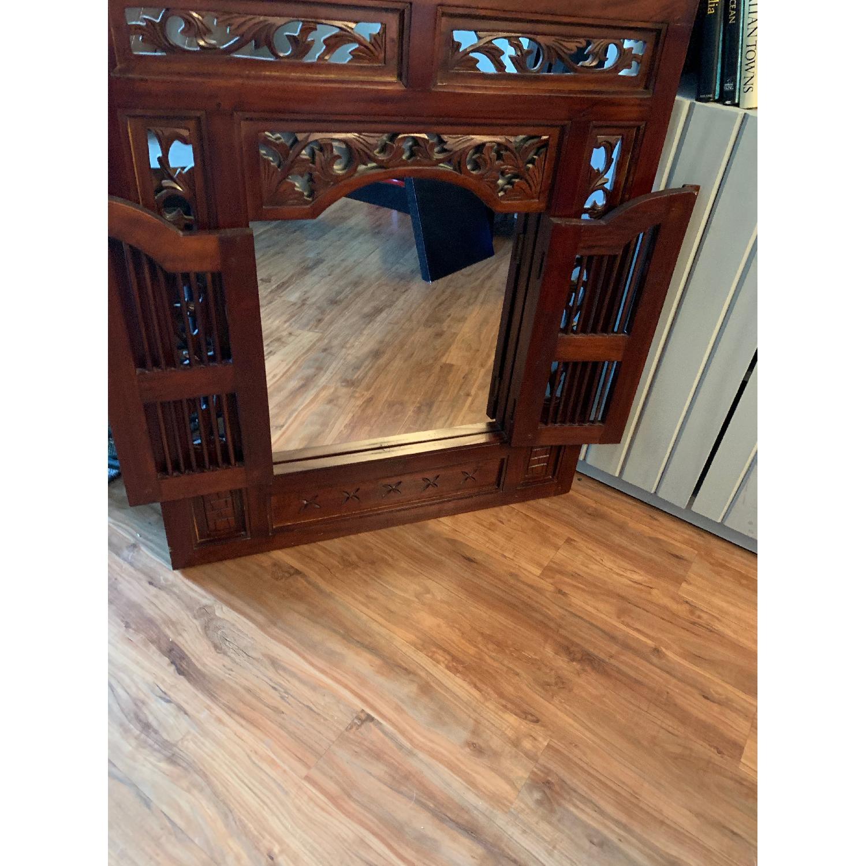 Antique Wood Framed Mirror-0