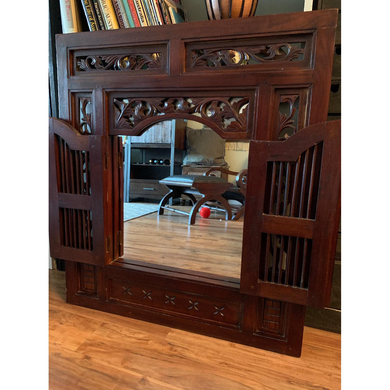 Antique Wood Framed Mirror-1