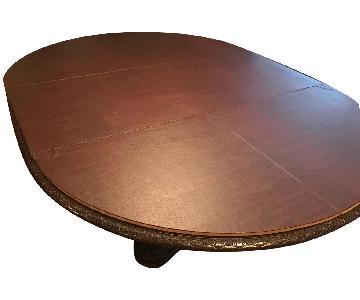Bernhardt Pedestal Wood Dining Table w/ Removable Leaf