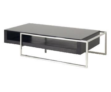 Modrest Modern Black Oak Glass Stainless Steel Coffee Table