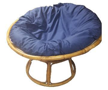 Pier 1 Papasan Chair w/ Navy Cushion