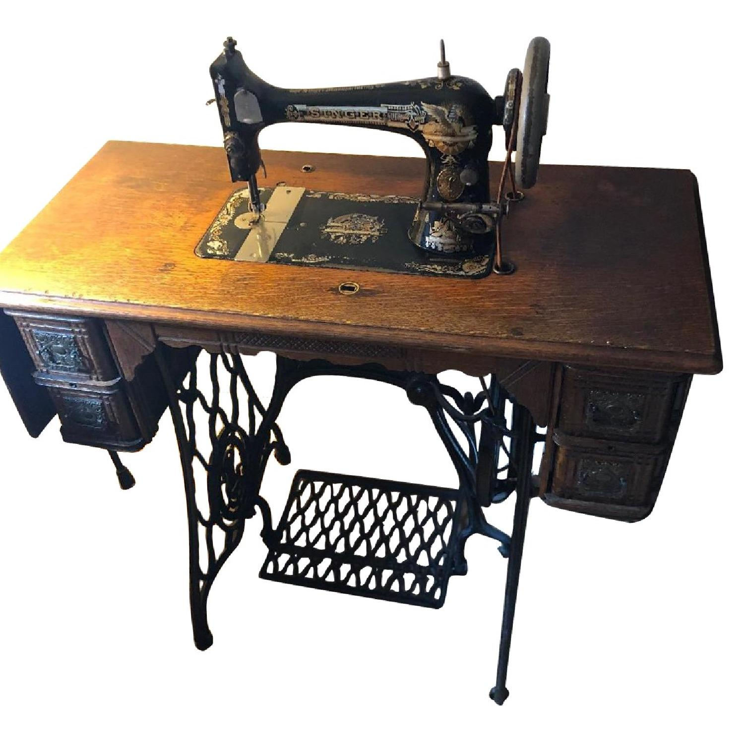 Antique Treadle Singer Sewing Machine Table