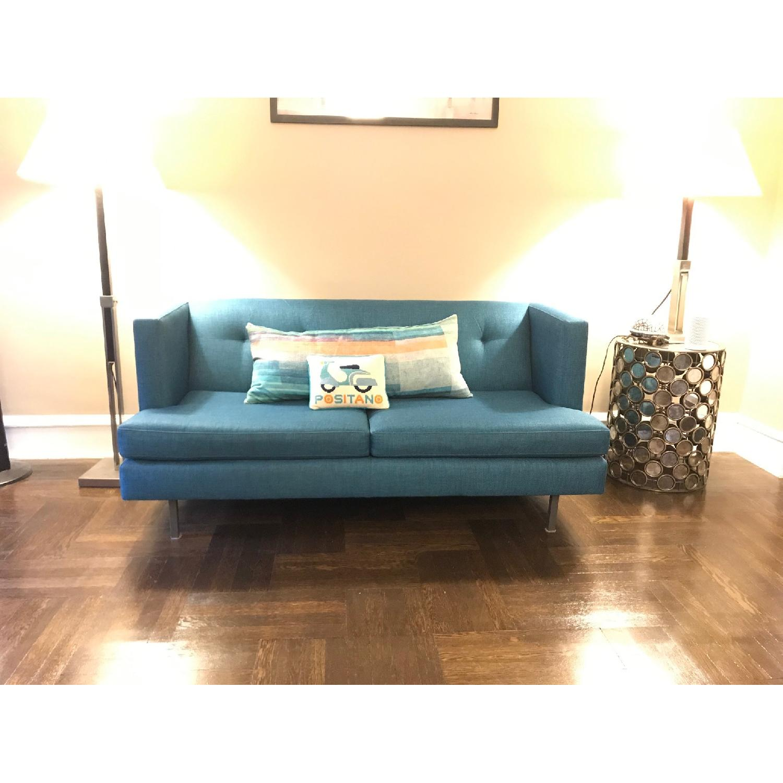 CB2 Avec Peacock Apartment Sofa w/ Brass Legs-0