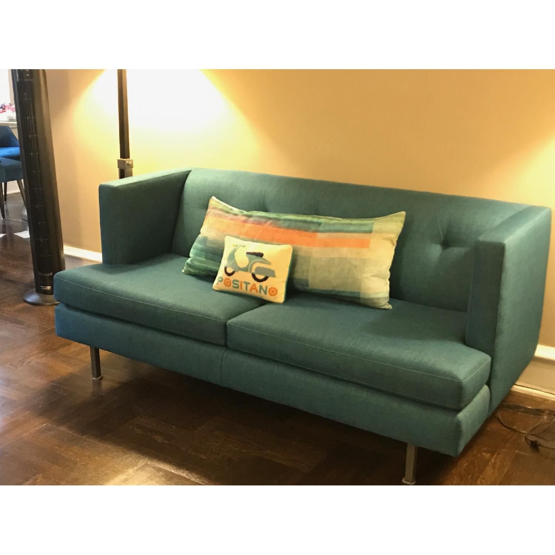 CB2 Avec Peacock Apartment Sofa w/ Brass Legs-1