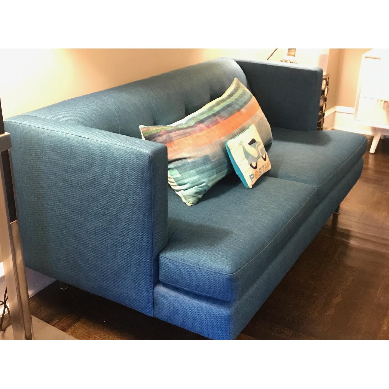 CB2 Avec Peacock Apartment Sofa w/ Brass Legs-2