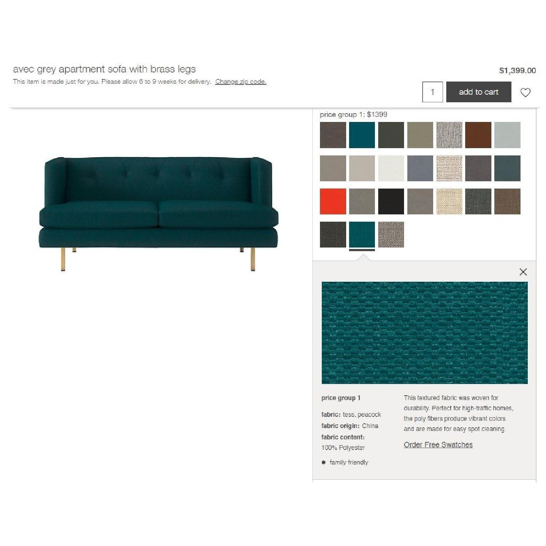 CB2 Avec Peacock Apartment Sofa w/ Brass Legs-3